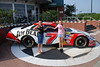 Bayley and Alyssa next to Robby Gordon's can outside the NASCAR cafe