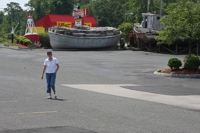 Jacqui strolling across the lot.