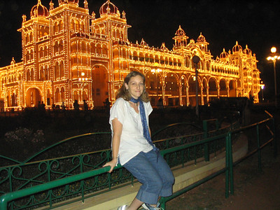 Sitting in front of the Mysore Palace on a Sunday evening.  I have this same picture of me from 5 years ago.