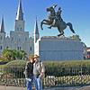 French Quarter, Jackson Square. This is a statue of Andy on his horse. The beautiful St Louis Cathedral is in the background.