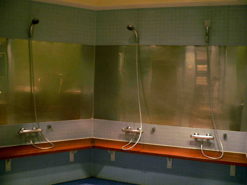 Showers in the men's spa