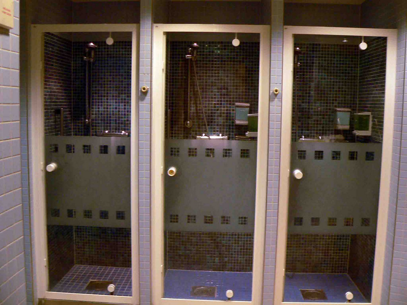 Showers in the men's spa area