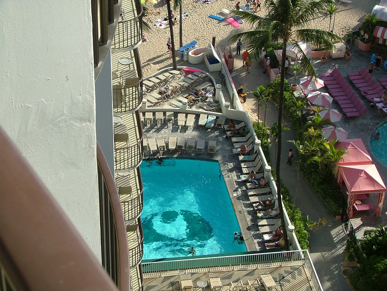 Pool view from our room here at the Outrigger Waikiki on the beach