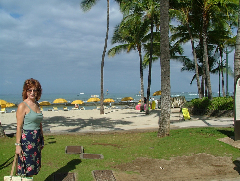 ANN ON WAIKIKI BEACH, THE TWO DAYS PRIOR TO OUR 7 NIGHT NCL PRIDE OF AMERICA CRUISE