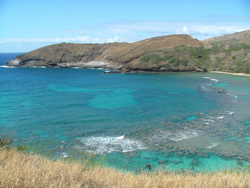 See the dragon laying down? See the heart in the middle of the Bay? I have this picture at home, as I love Hanauma Bay on the island of Oahu