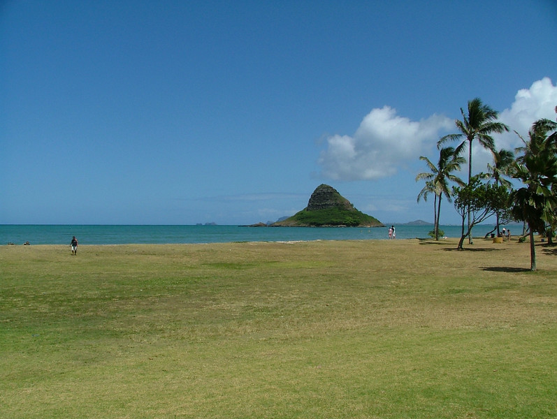 This is Chinamans hat in the distance, here on the island of Oahu