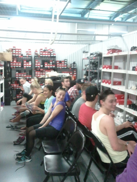 Getting their new show shoes.....in a storage locker! LOL