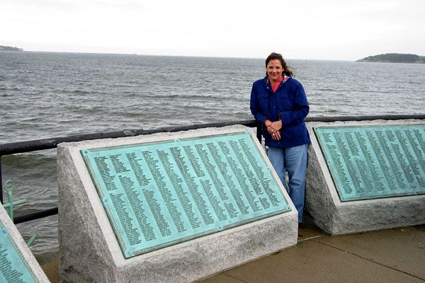 SLATE OF LOST FISHERMEN-KIM AT FISHERMAN'S MEMORIAL-GLOUCESTER, MA.