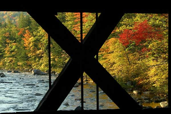 ANOTHER VIEW FROM COVERED BRIDGE-KANCAMAGUS HWY, NH.
