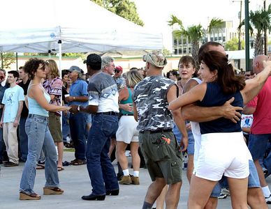 Lafayette -- dancing to zydeco band in town square