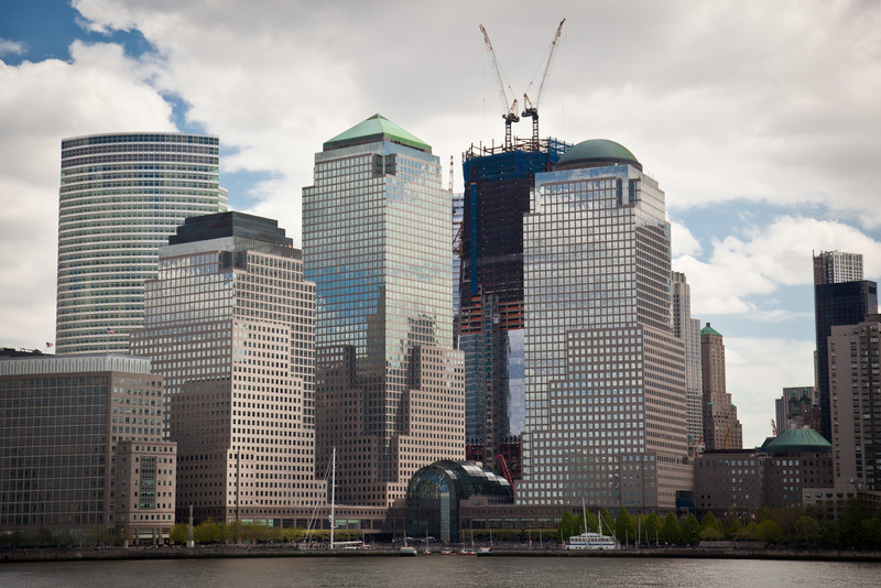 ONE WORLD TRADE CENTER CONSTRUCTION AT GROUND ZERO AS VIEWED FROM THE HUDSON RIVER