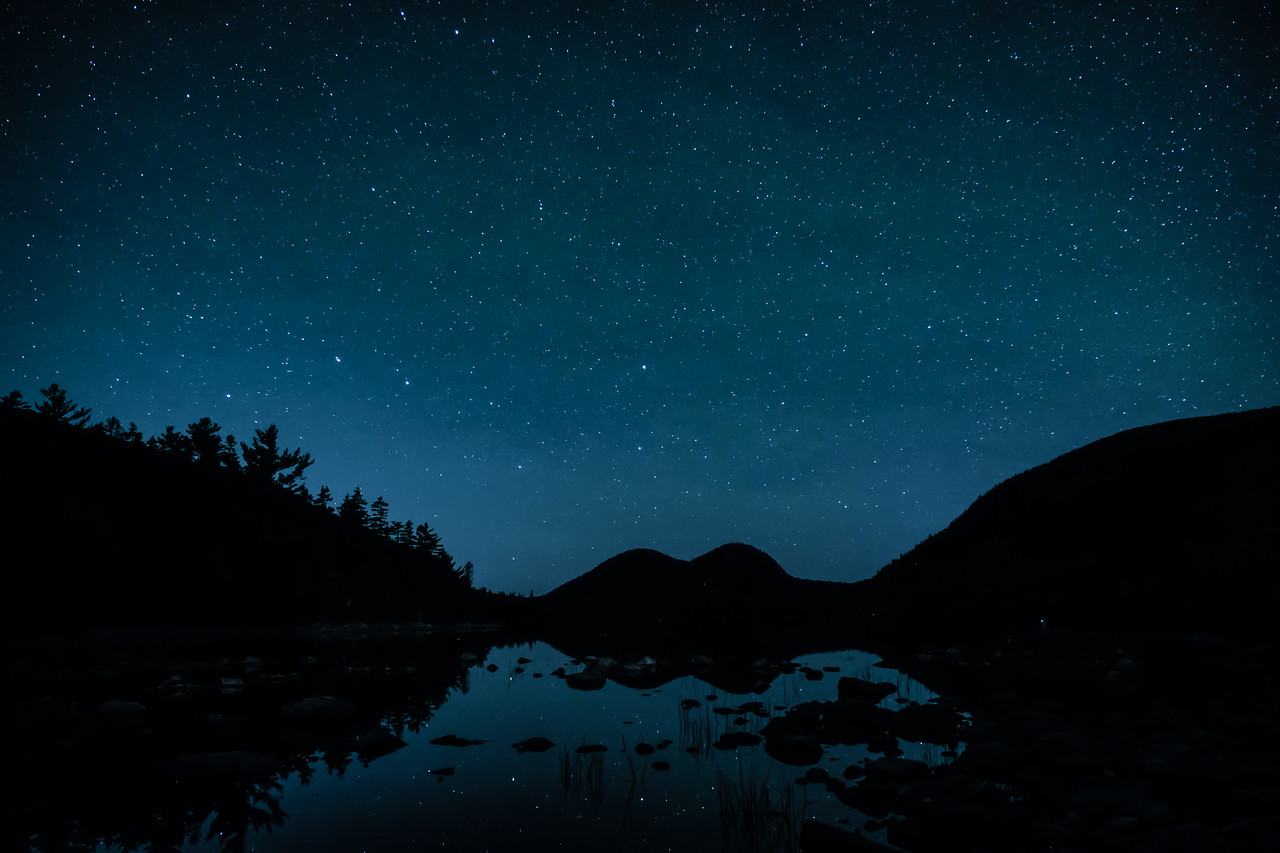 STARS AND REFLECTIONS ON JORDAN POND - ACADIA N.P.