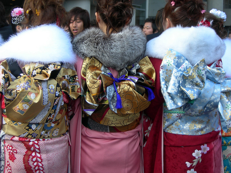 Everywhere you looked, you saw beautiful young women wearing kimonos for Coming of Age Day Sasebo, Japan.