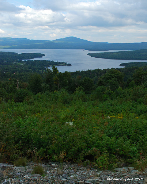 Looking out over The First Connecticut Lake from Prospect Mountain to Mt. Magalloway