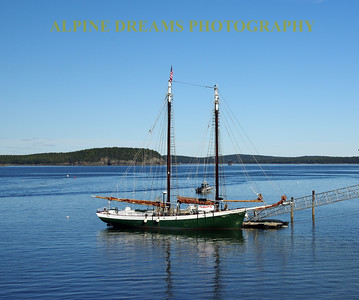 GREEN SCHOONER IN BAR HARBOR
