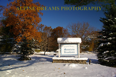 There is about a foot of fresh snow on the sign of the BREW HOUSE at the Crystal lodge in Round Top NY.  This was taken on Sunday morning October 30th, 2011. The Brew House is a great place to visit a couple times a year at the least. Check out the foliage and the owners dog  Snitzel behind the sign!   AWESOME place to escape the rat racce for a couple days!
