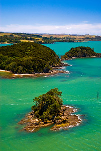 Aerial view of the islands off the Paihia waterfront, Bay of Islands, New Zealand