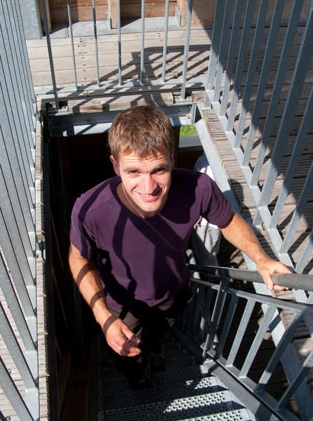 Bart op de uitkijk toren van het Turnhouts Vennengebied
