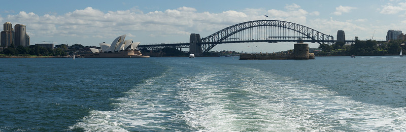 Sydney city, Opera House and Harbour Bridge from ferry