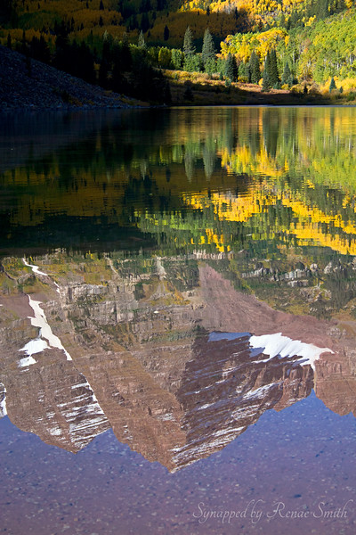 Maroon Bells, Colorado, reflected in the water