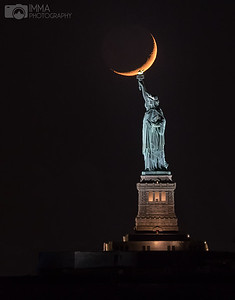Crescent moon and Liberty