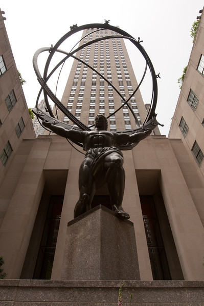 """A view of the """"Rock"""" from below the Atlas statue."""