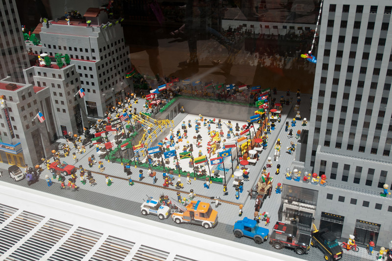 The skating rink at Rockefeller Center, created in Legos.