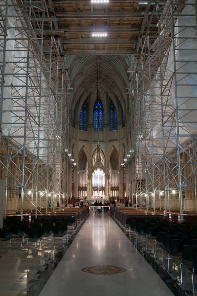 The cathedral was undergoing rennovations at the time.  Here, you can see the scaffolding in the interior of the cathedral, looking toward the altar.