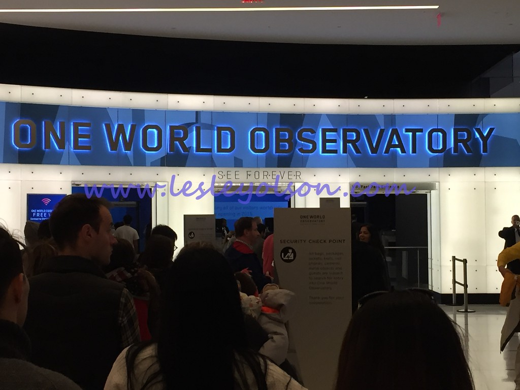 Entrance to 1 WTC/Observation Deck ticket line.  Get your tickets online so you don't have to wait!<br /> Photo taken by Brian Romberger.  iPhone 6.