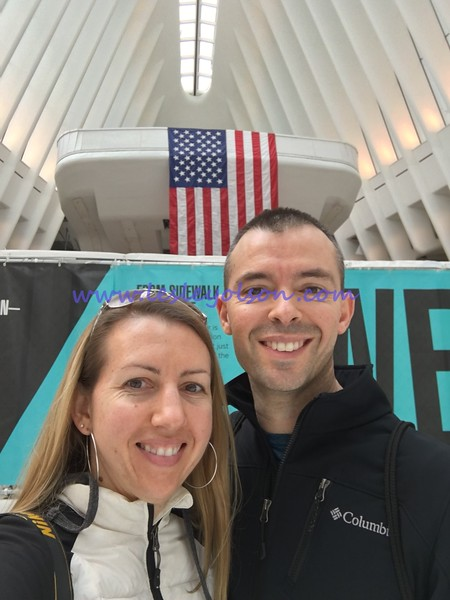 Lesley and Brian in newly opened Oculus/transportation hub.<br /> iPhone 6S.