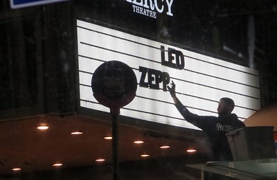 Time to change the marquee at the Gramercy Theatre on 23rd St.