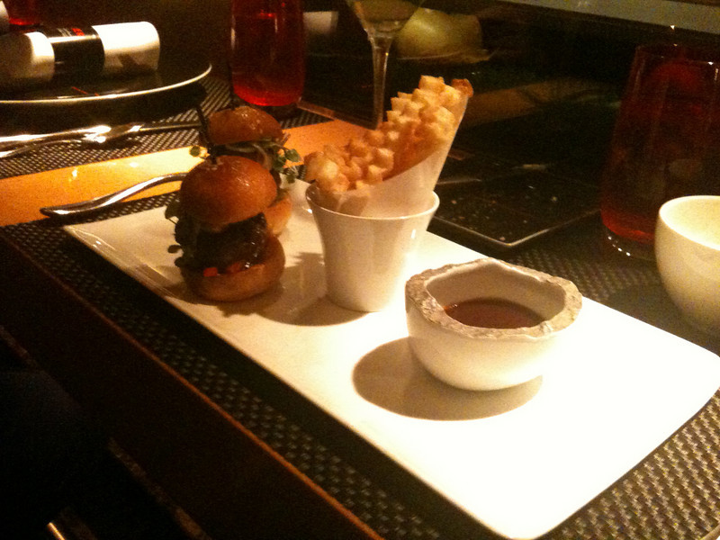 """Les burgers"" - beef sliders topped with foie gras and carmelized red peppers, served with a sauce that tasted remarkably like A1, in a good way."