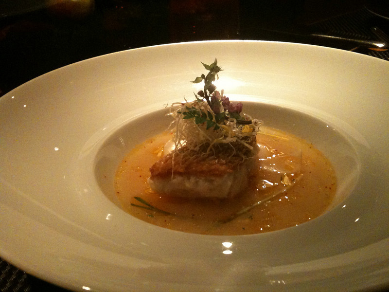 "Fancy dinner at ""L'Atelier de Joel Robuchon""  (that's Amadai in Yuzu broth with lily bulbs)"