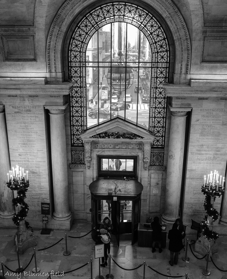 Entrance to the main Public Library on Fifth Ave