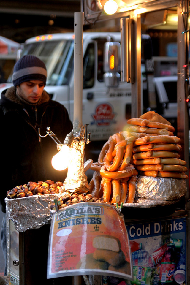 Very NYC. Chestnuts (only in the winter) and Knishes...
