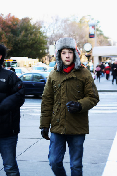 Adorable boy. (It was freezing this day.)