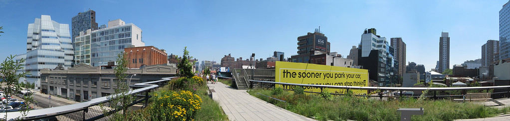 Highline Elevated Park looking out at Chelsea
