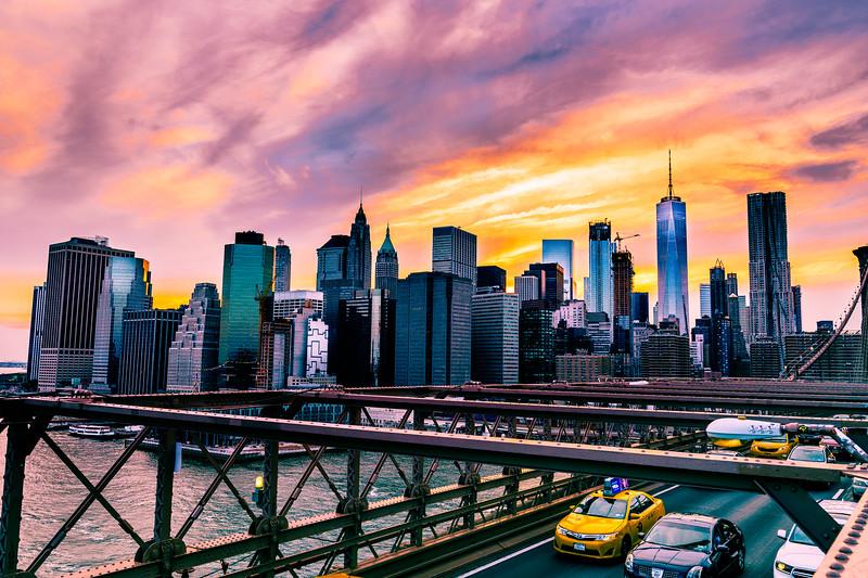 NYC Sunset Skyline from Brooklyn Bridge