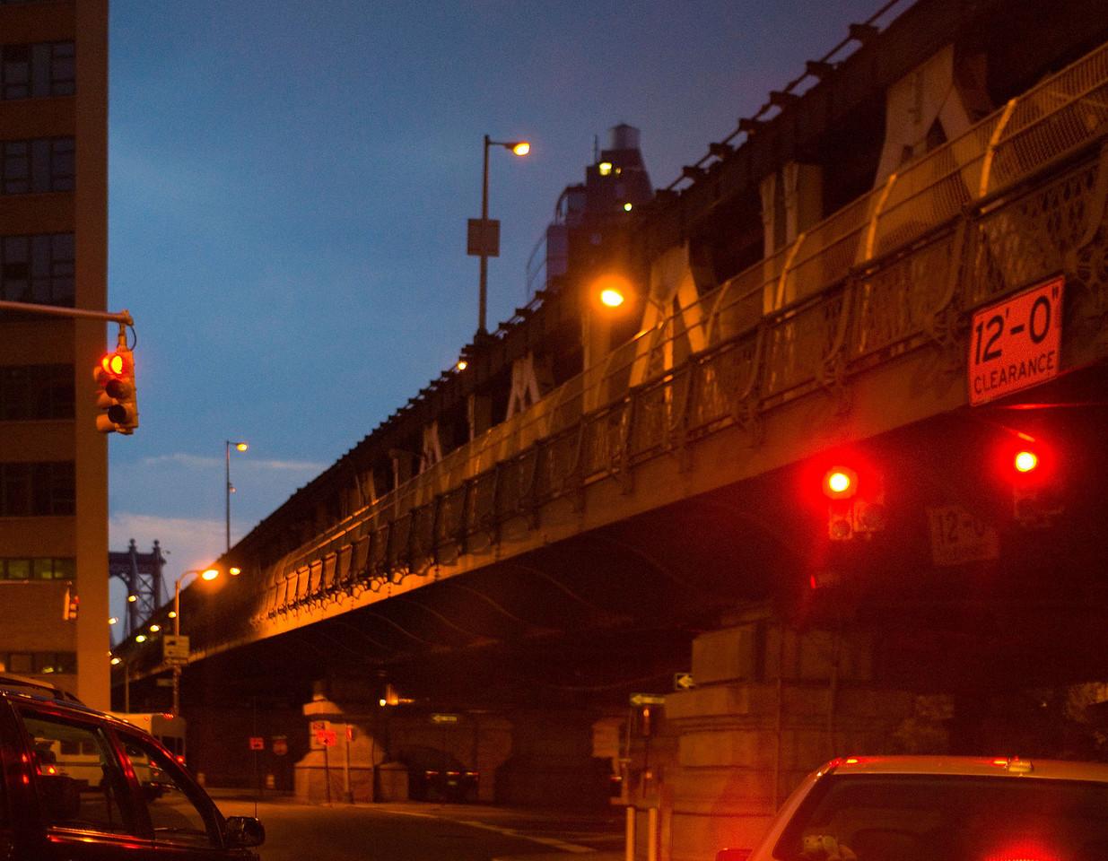 Manhattan Bridge at dusk.