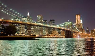 Brooklyn Bridge at midnight.