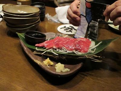 Horsemeat sashimi!  dinner at zawatami restaurant