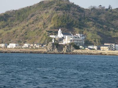 Catholic church w/ statue of Mary looking over Nagasaki bay