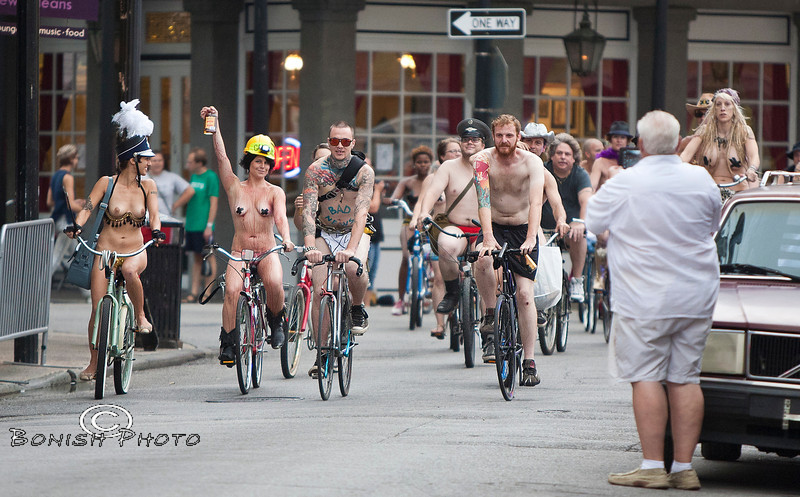 Raise your Pint for the Naked Bike Parade, New Orleans, June 2012 - Bonish Photo