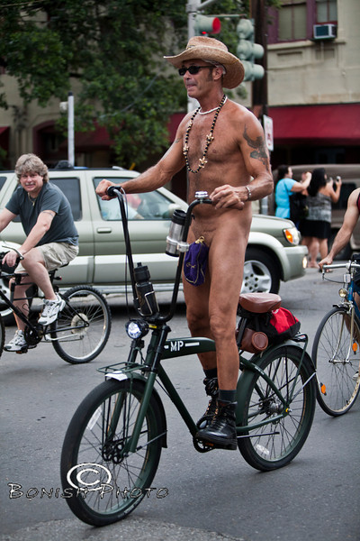 Hanging the Junk in a Crown Bag - Naked Bike Parade, New Orleans, June 2012 - Bonish Photo