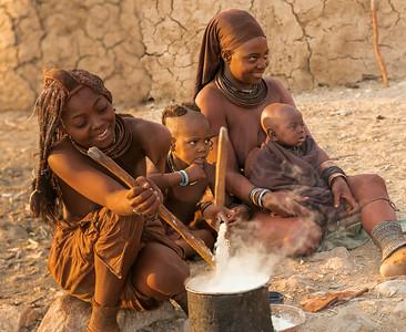 Himba Women Preparing Breakfast, Namibia.