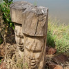 Faces Carved into Tree Stumps, Erindi Old Traders' Lodge, Khomas Region