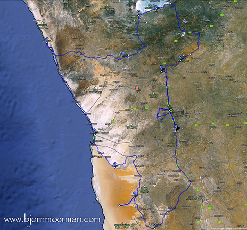 Map of NAMIBIA  -Beauty and the Beasts-