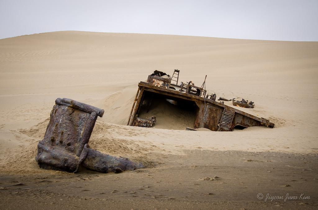 A shipwreck on the shore