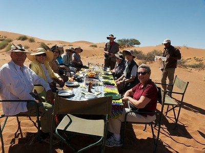 Our group eating lunch in the desert.