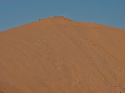 Sand dune climbers descending from the dune above Dead Vlei.
